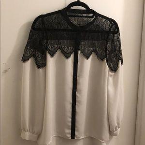 Lauren Conrad Lace Button Up Shirt